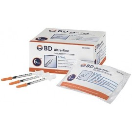 Jeringa B.D. para insulina de 0.5 ml con aguja fija no. 31g x 8mm